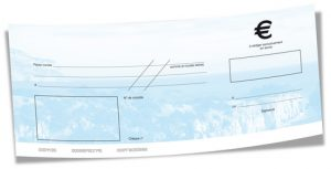 chèque de banque vierge bleu